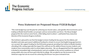 PRESS STATEMENT FY2018 HOUSE BUDGET